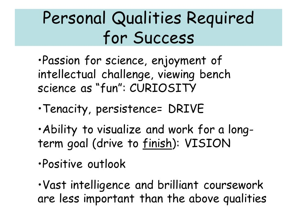 Personal Qualities Required for Success