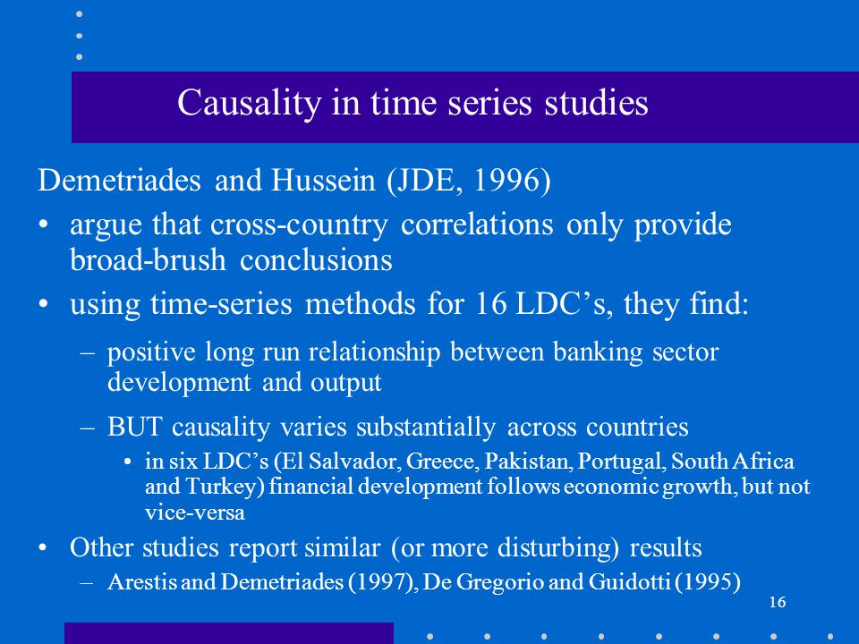Causality in time series studies