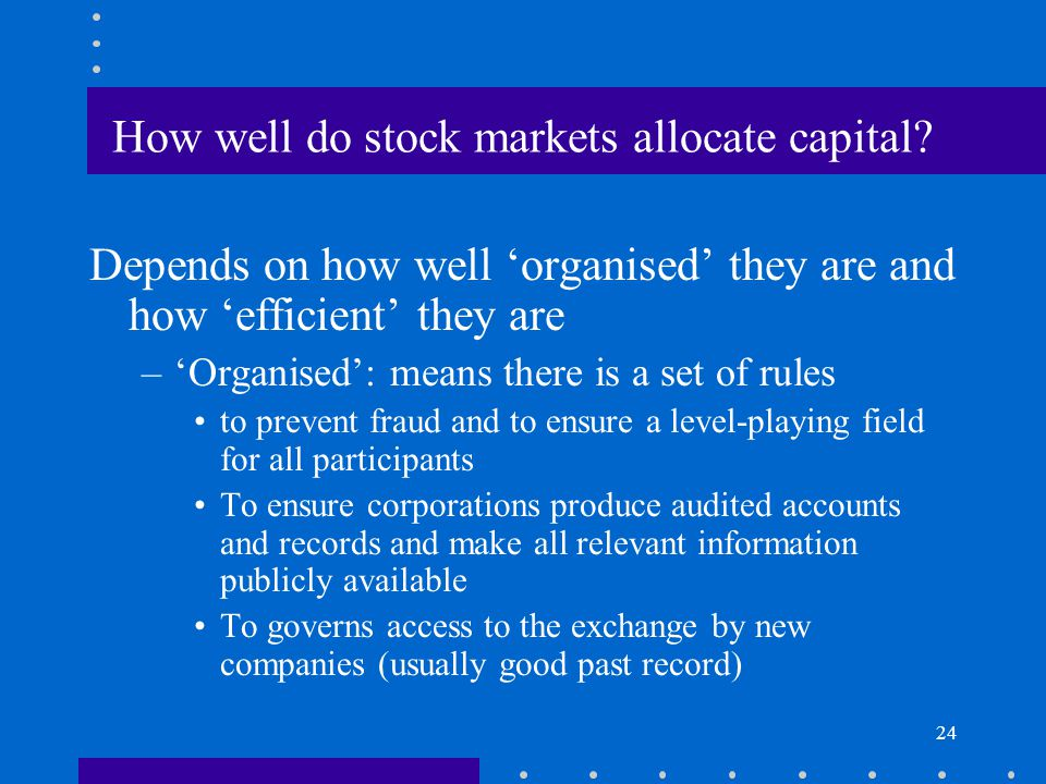 How well do stock markets allocate capital