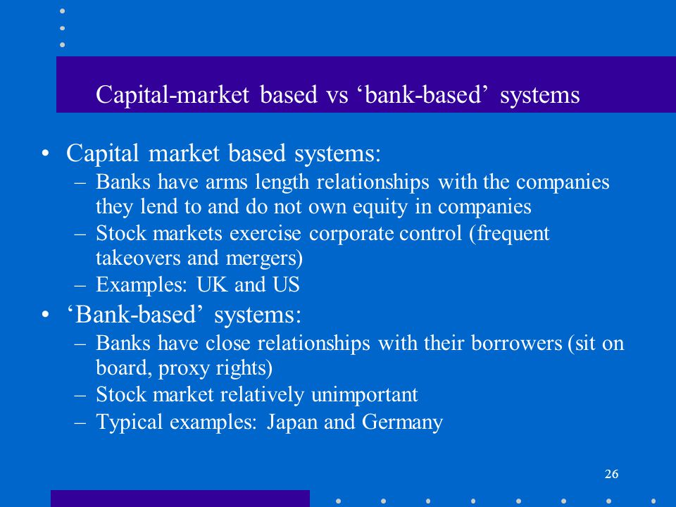 Capital-market based vs 'bank-based' systems