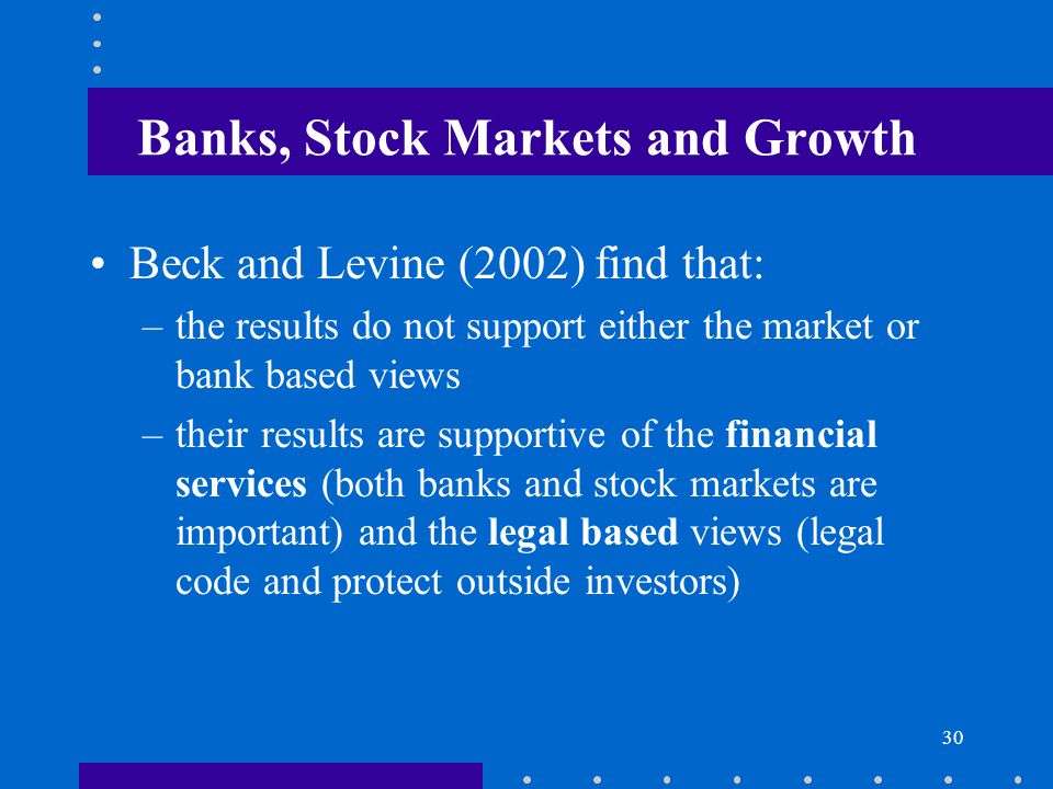 Banks, Stock Markets and Growth