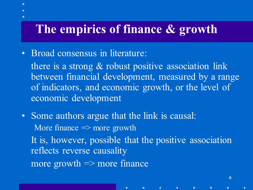 The empirics of finance & growth