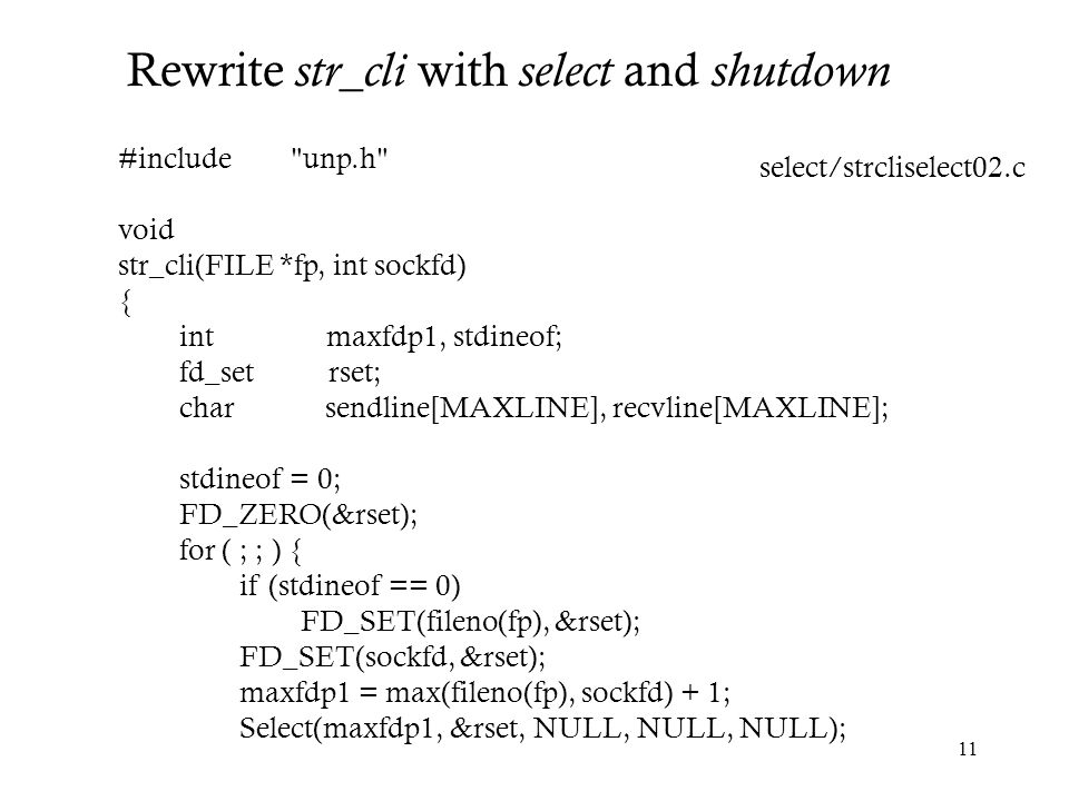 Rewrite str_cli with select and shutdown