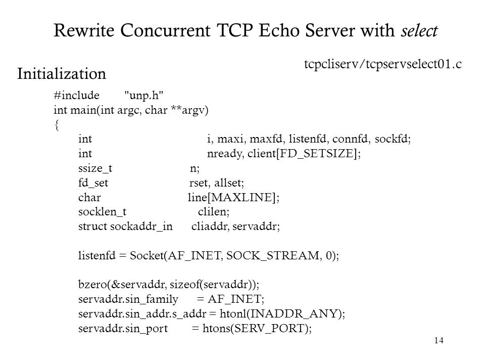 Rewrite Concurrent TCP Echo Server with select