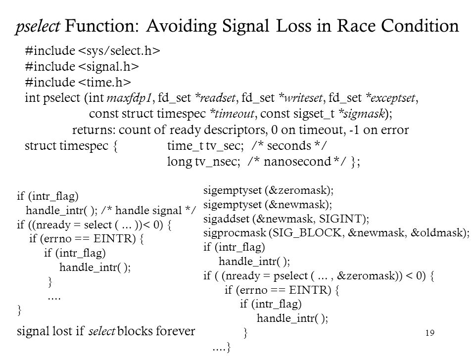 pselect Function: Avoiding Signal Loss in Race Condition