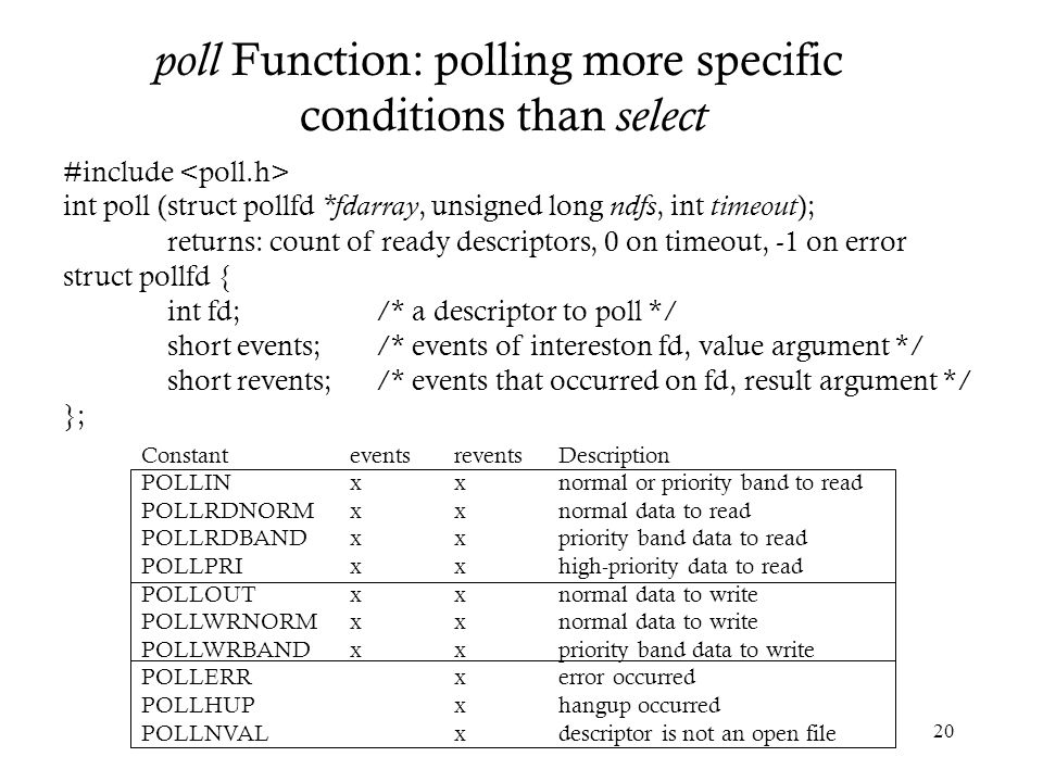 poll Function: polling more specific conditions than select