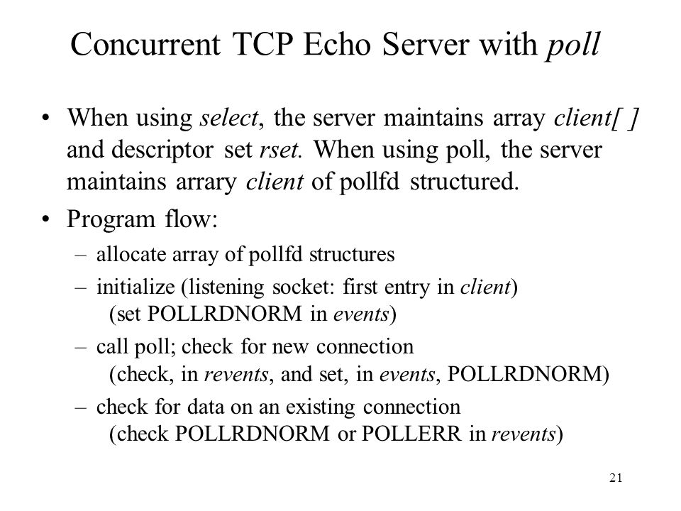 Concurrent TCP Echo Server with poll
