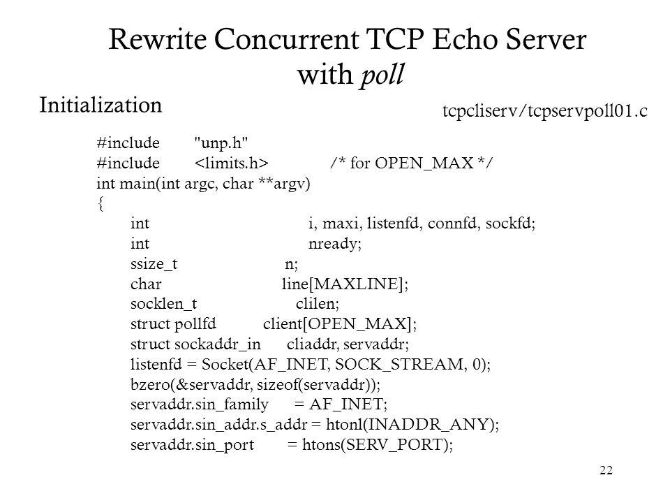 Rewrite Concurrent TCP Echo Server