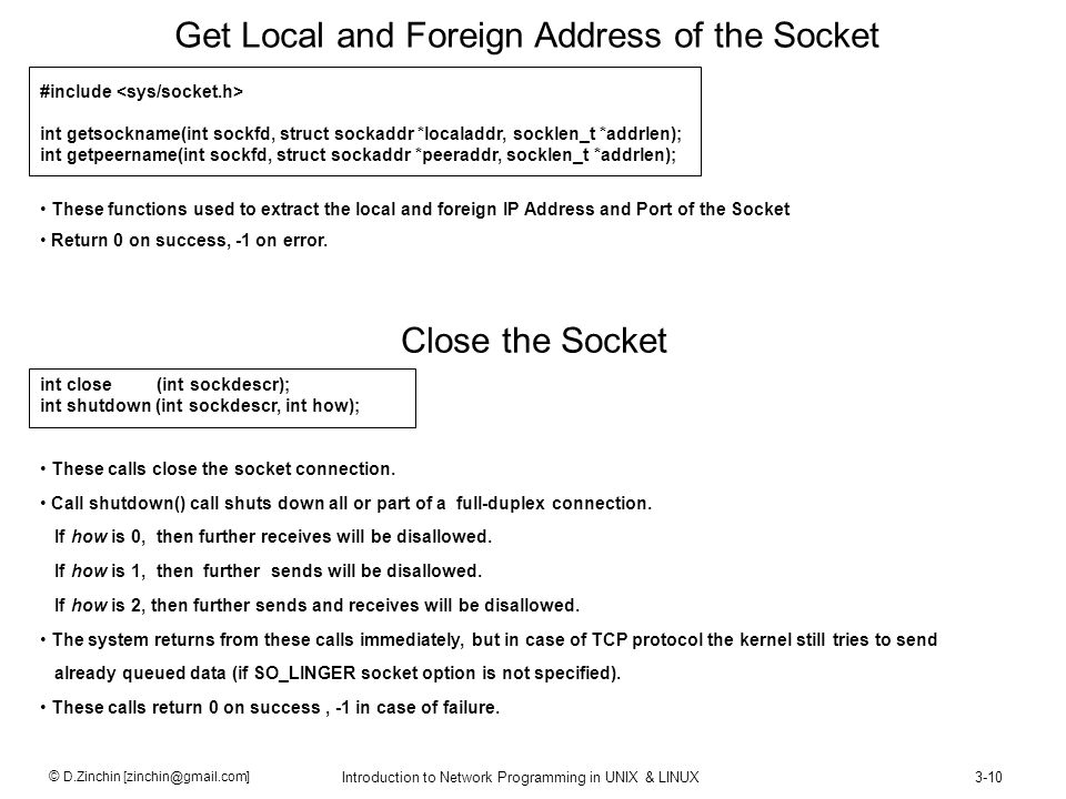Get Local and Foreign Address of the Socket