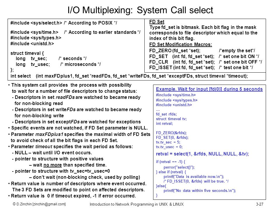 I/O Multiplexing: System Call select