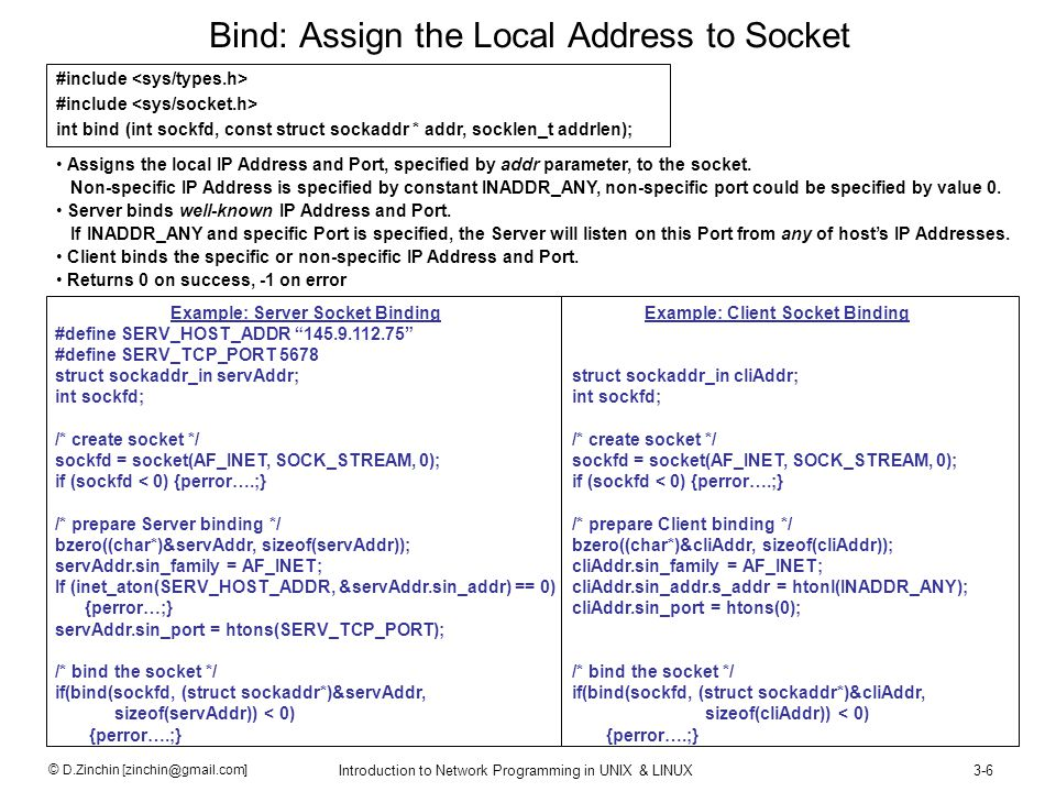 Bind: Assign the Local Address to Socket