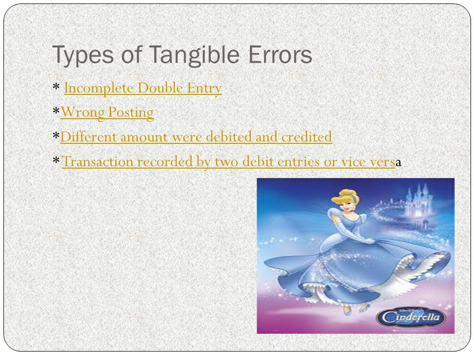Types of Tangible Errors