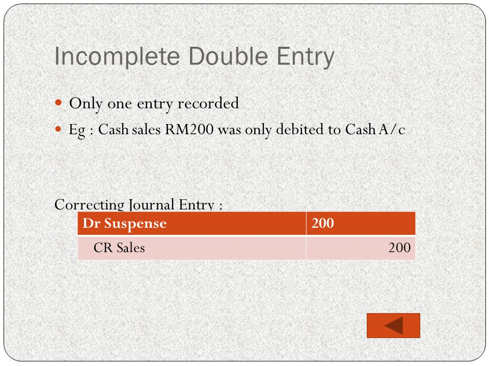 Incomplete Double Entry