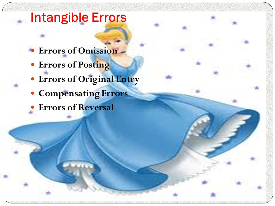 Intangible Errors Errors of Omission Errors of Posting