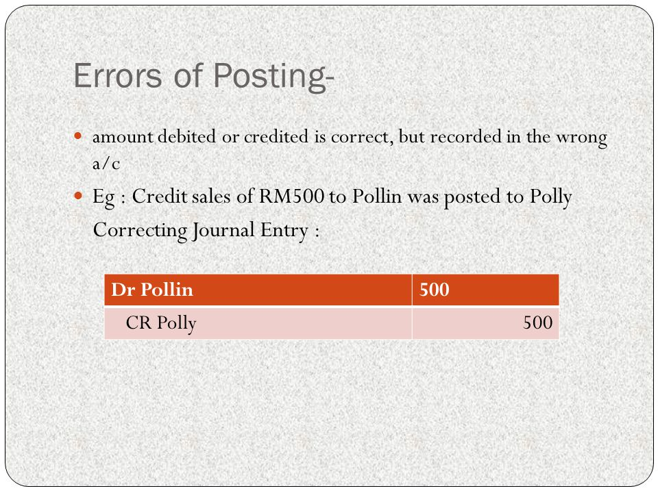 Errors of Posting- amount debited or credited is correct, but recorded in the wrong a/c. Eg : Credit sales of RM500 to Pollin was posted to Polly.