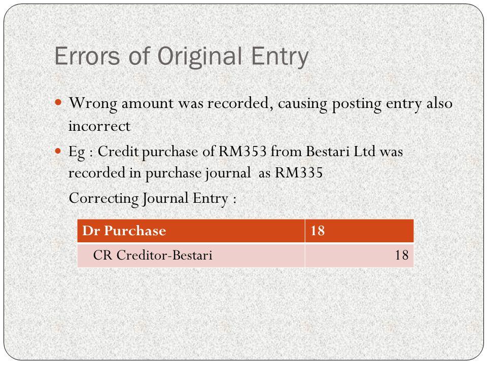 Errors of Original Entry