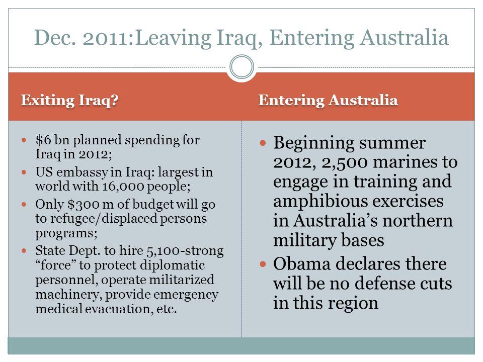 Dec. 2011:Leaving Iraq, Entering Australia