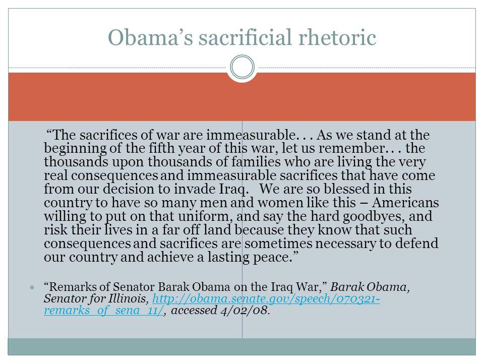 Obama's sacrificial rhetoric