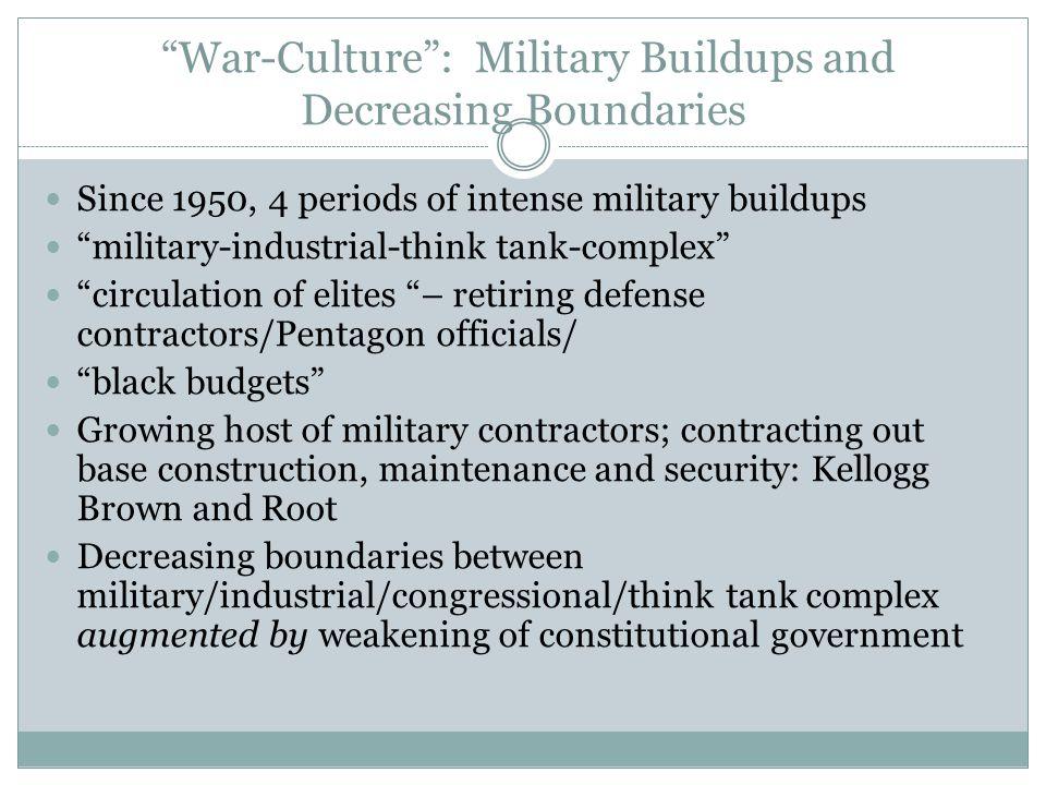 War-Culture : Military Buildups and Decreasing Boundaries