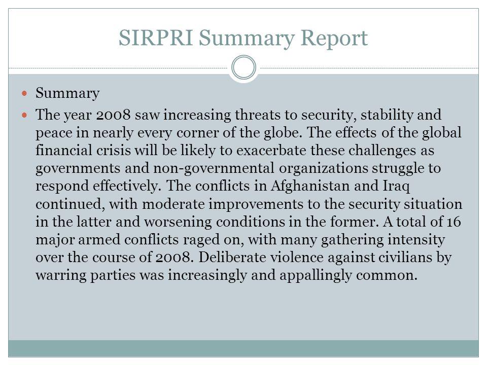 SIRPRI Summary Report Summary