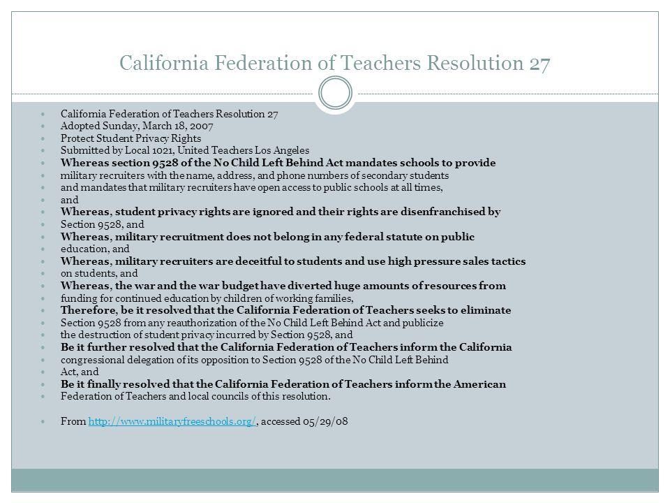 California Federation of Teachers Resolution 27