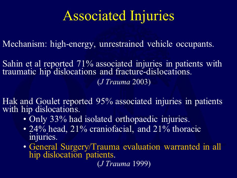 Associated Injuries Mechanism: high-energy, unrestrained vehicle occupants.