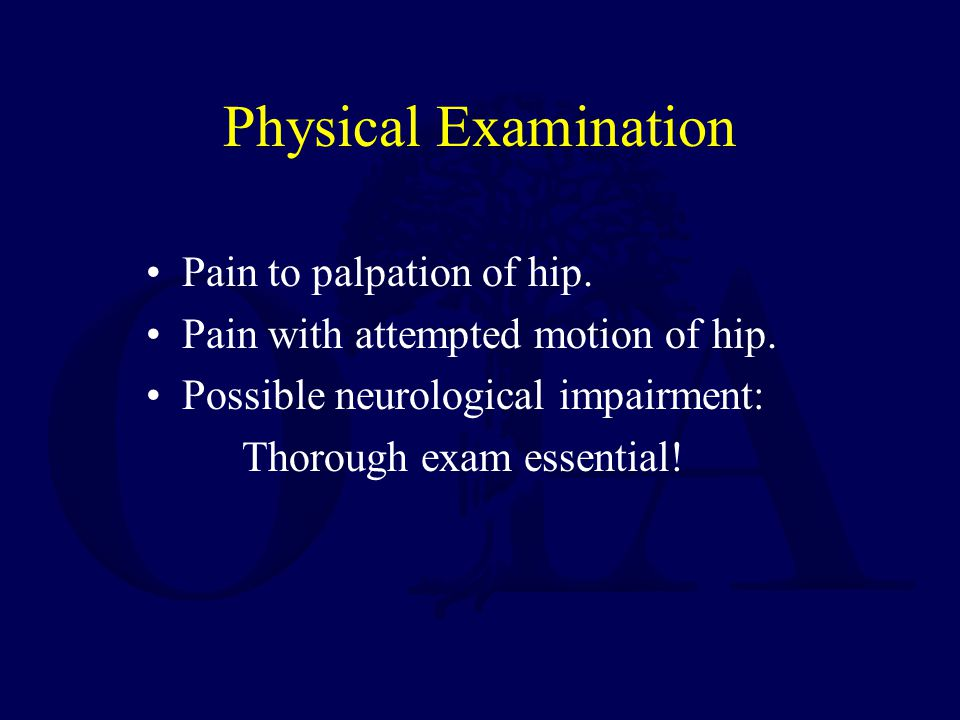 Physical Examination Pain to palpation of hip.