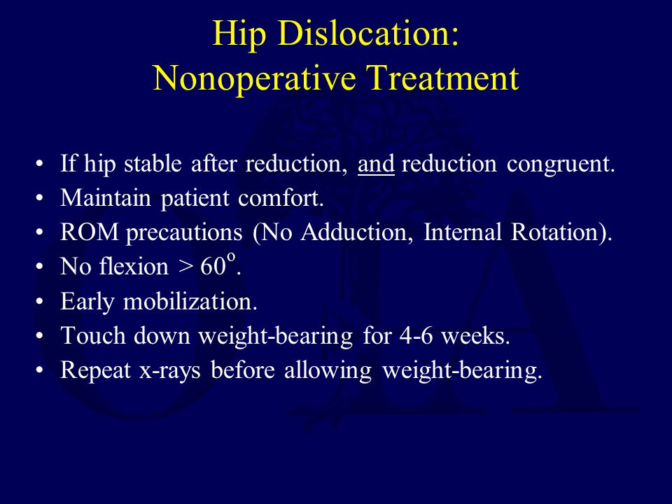 Hip Dislocation: Nonoperative Treatment