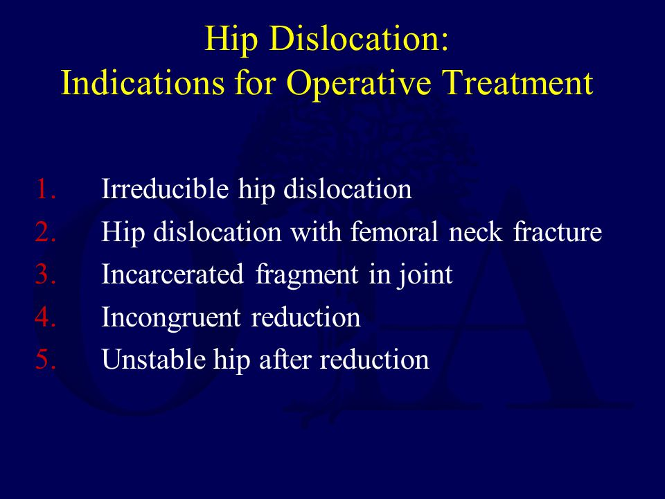 Hip Dislocation: Indications for Operative Treatment
