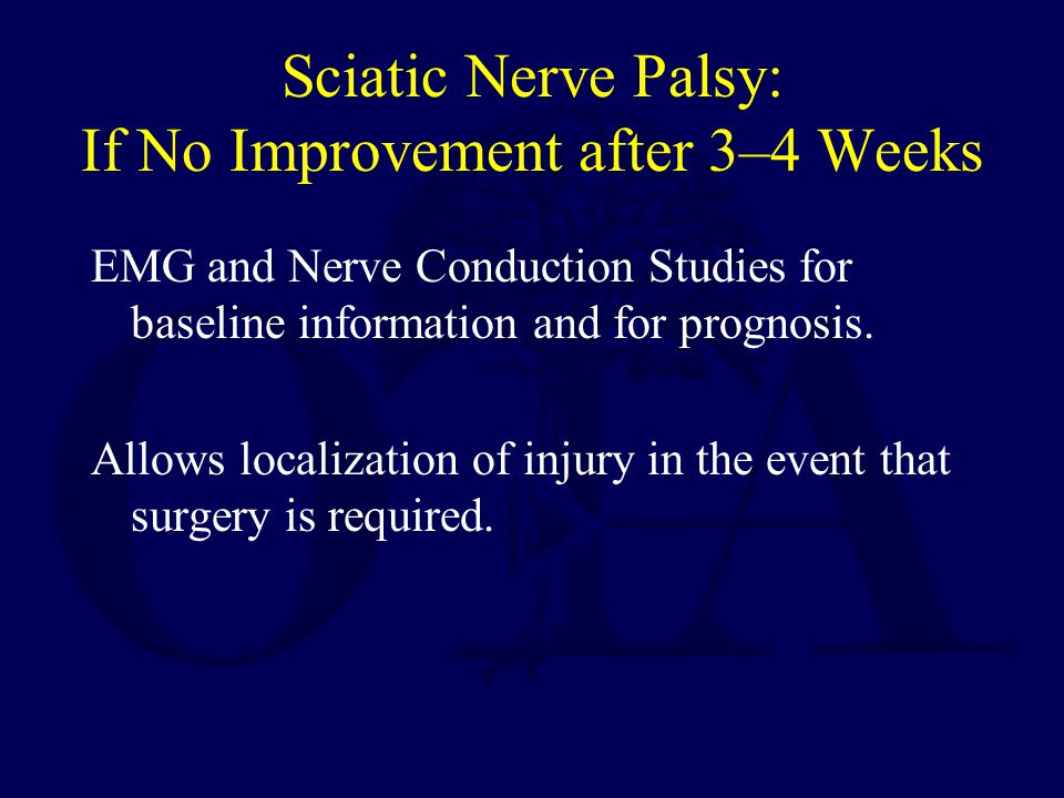 Sciatic Nerve Palsy: If No Improvement after 3–4 Weeks