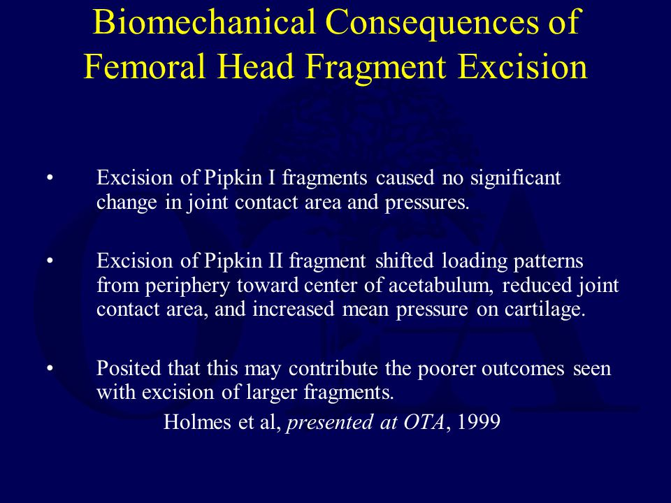 Biomechanical Consequences of Femoral Head Fragment Excision