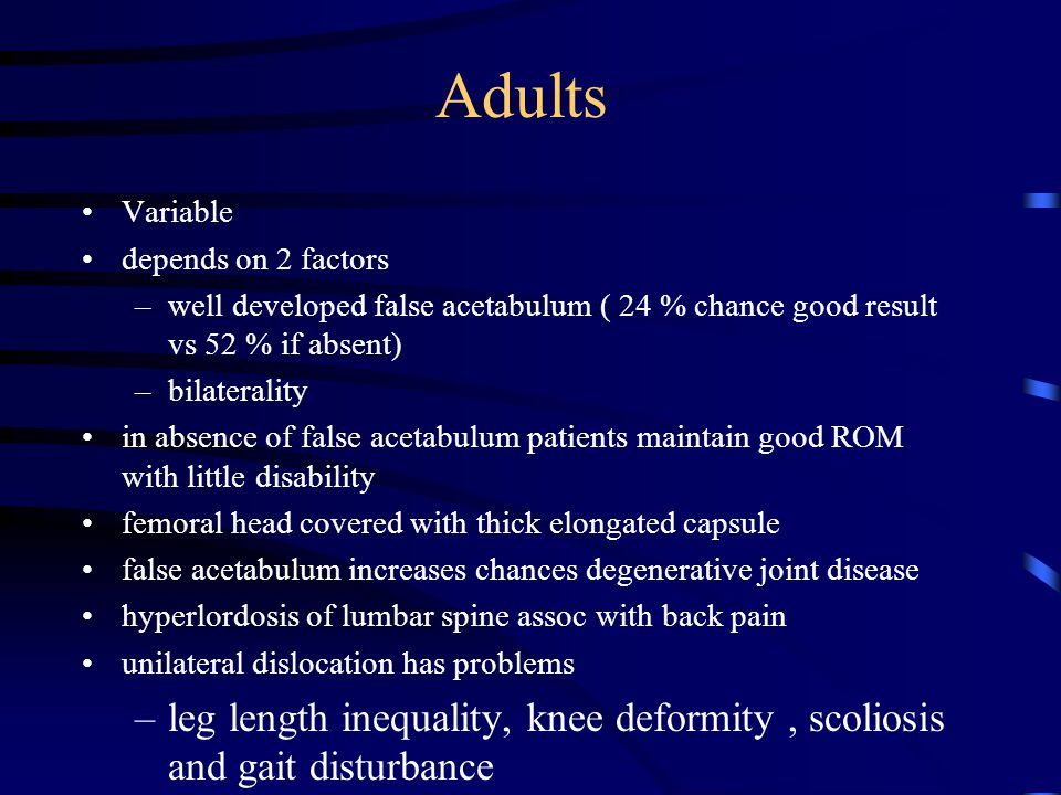 Adults Variable. depends on 2 factors. well developed false acetabulum ( 24 % chance good result vs 52 % if absent)