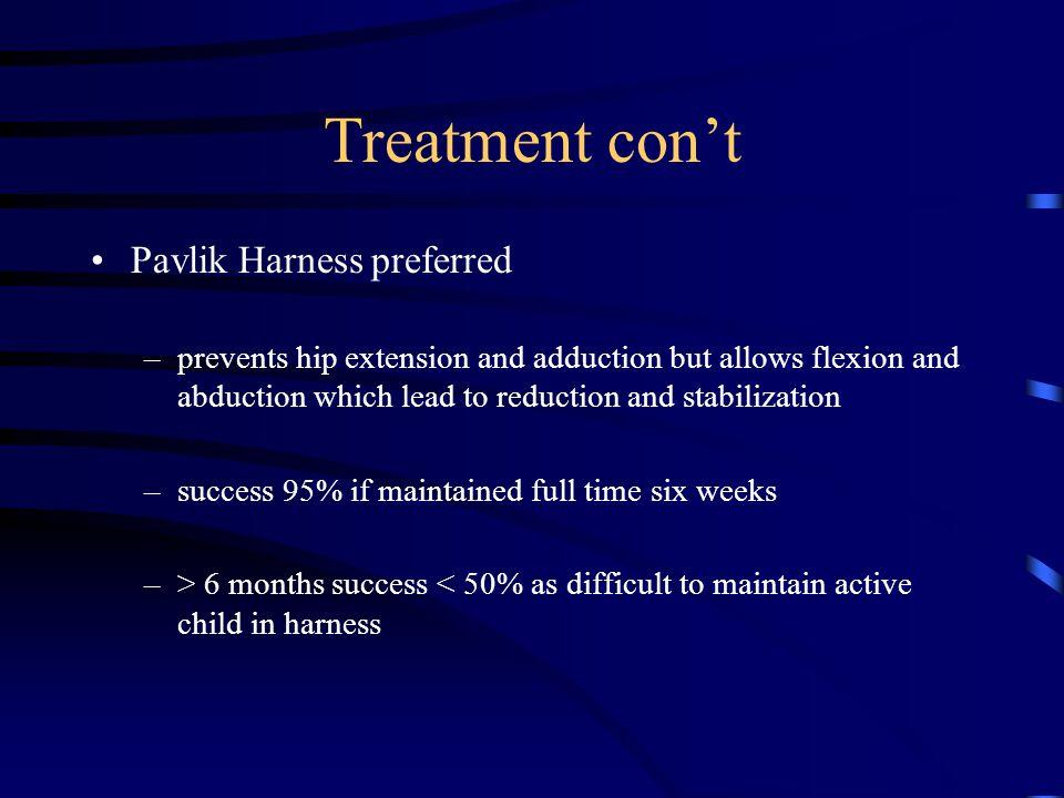 Treatment con't Pavlik Harness preferred