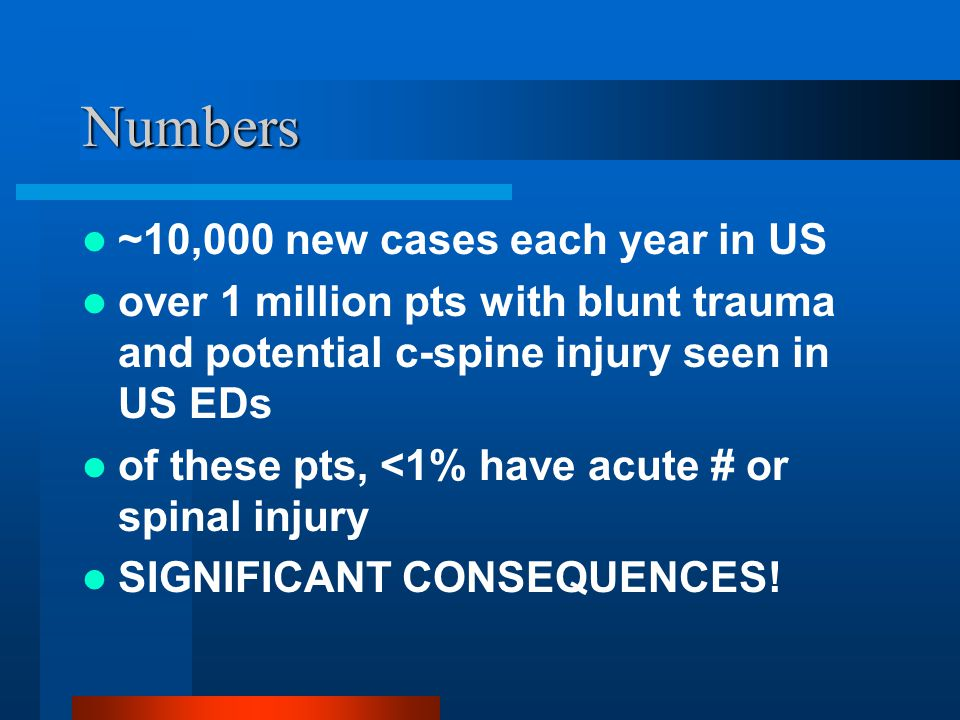 Numbers ~10,000 new cases each year in US