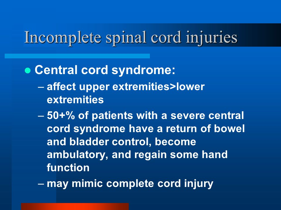incomplete spinal cord syndromes pdf