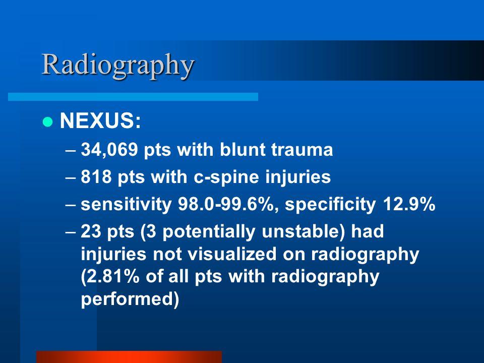 Radiography NEXUS: 34,069 pts with blunt trauma