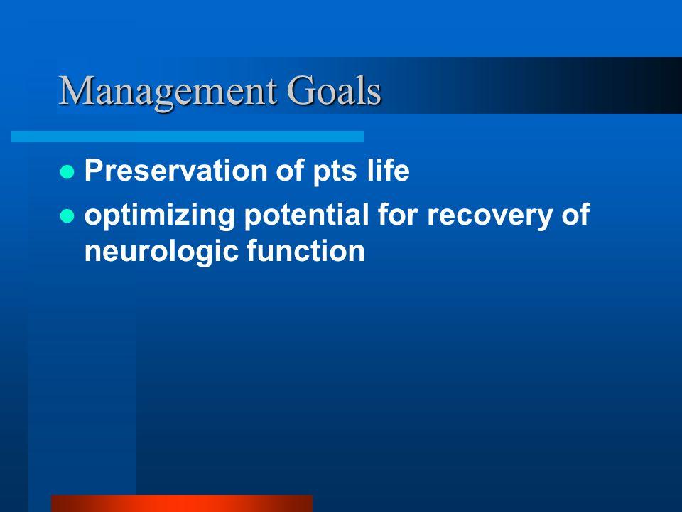 Management Goals Preservation of pts life