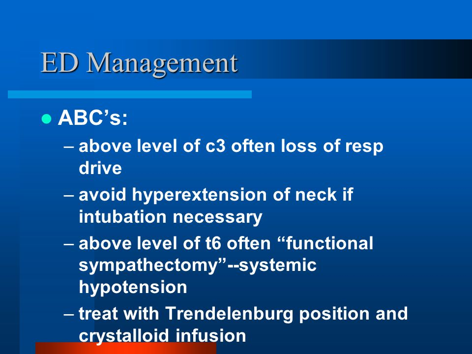 ED Management ABC's: above level of c3 often loss of resp drive