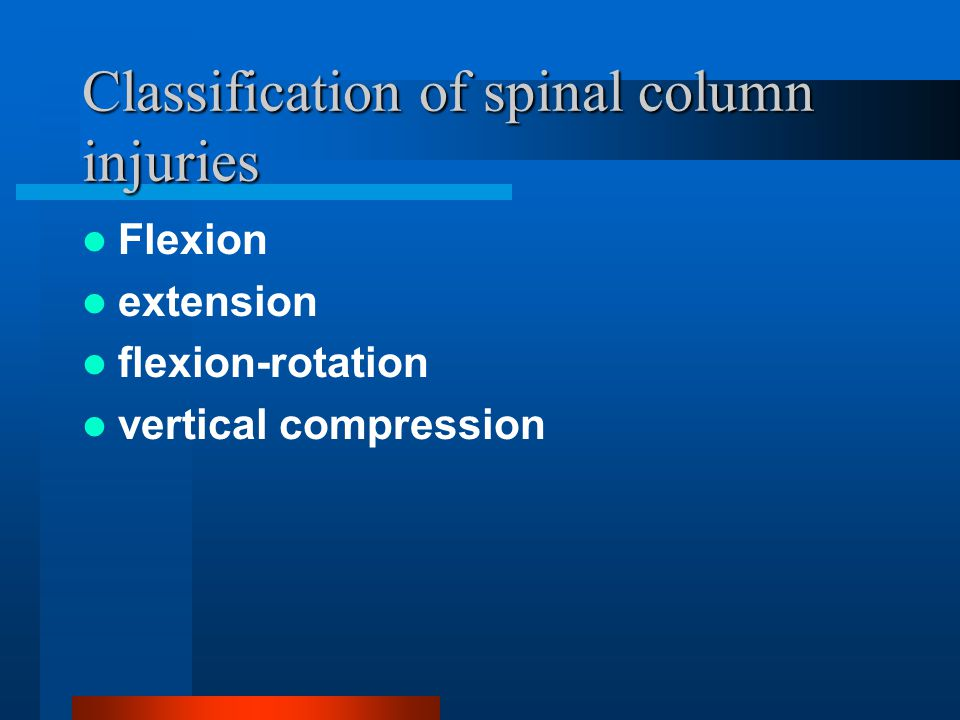 Classification of spinal column injuries