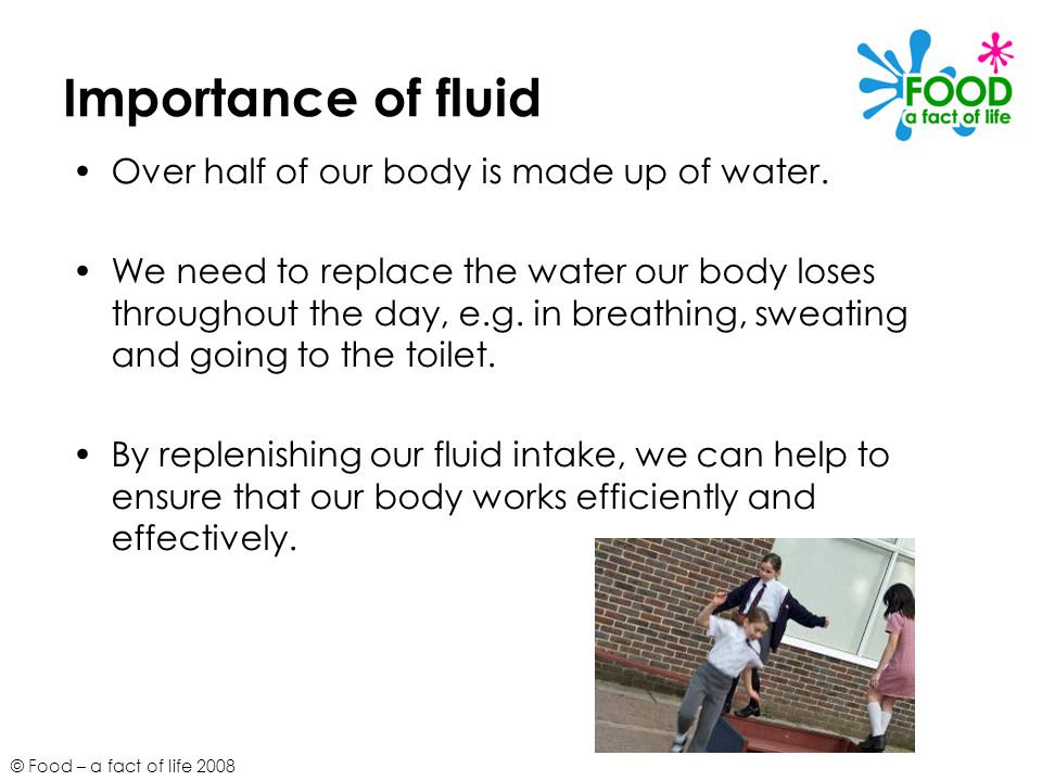 Importance of fluid Over half of our body is made up of water.