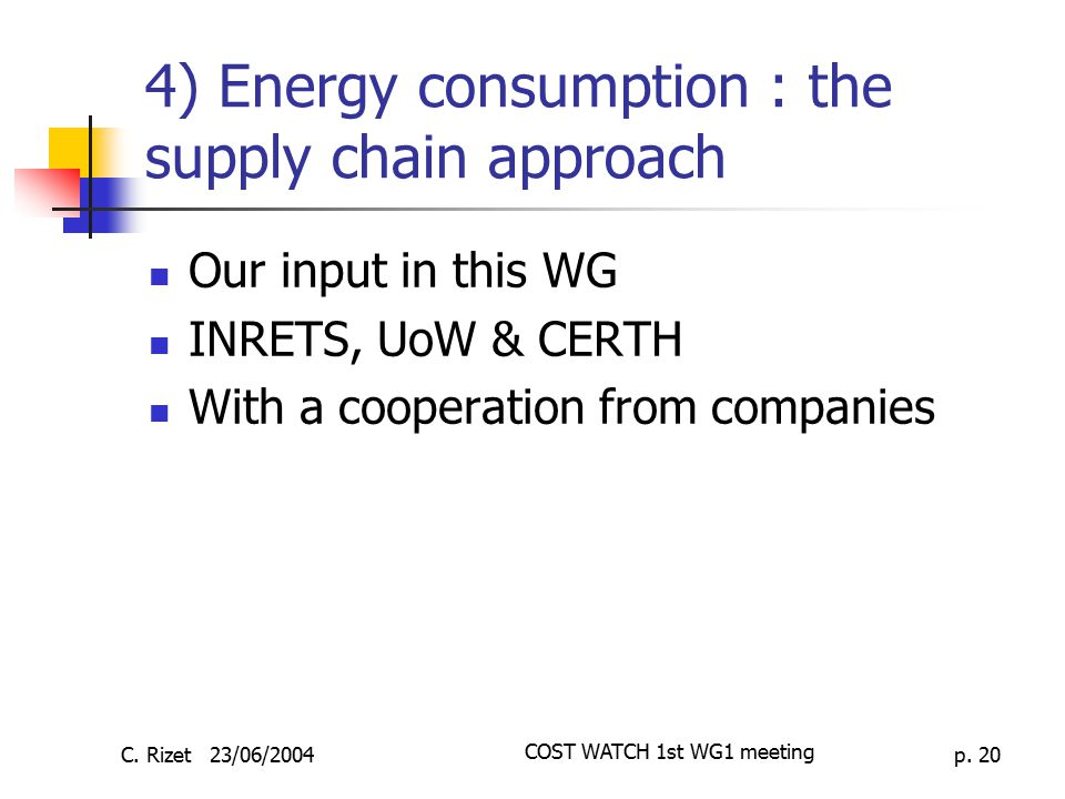 4) Energy consumption : the supply chain approach
