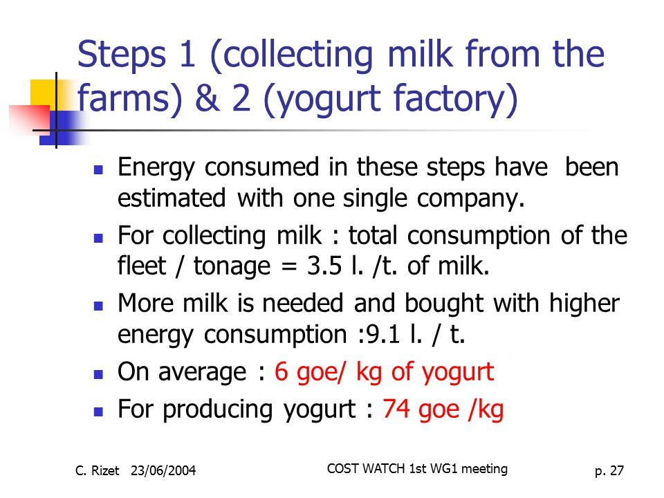 Steps 1 (collecting milk from the farms) & 2 (yogurt factory)