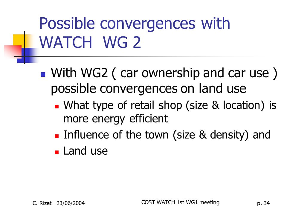 Possible convergences with WATCH WG 2