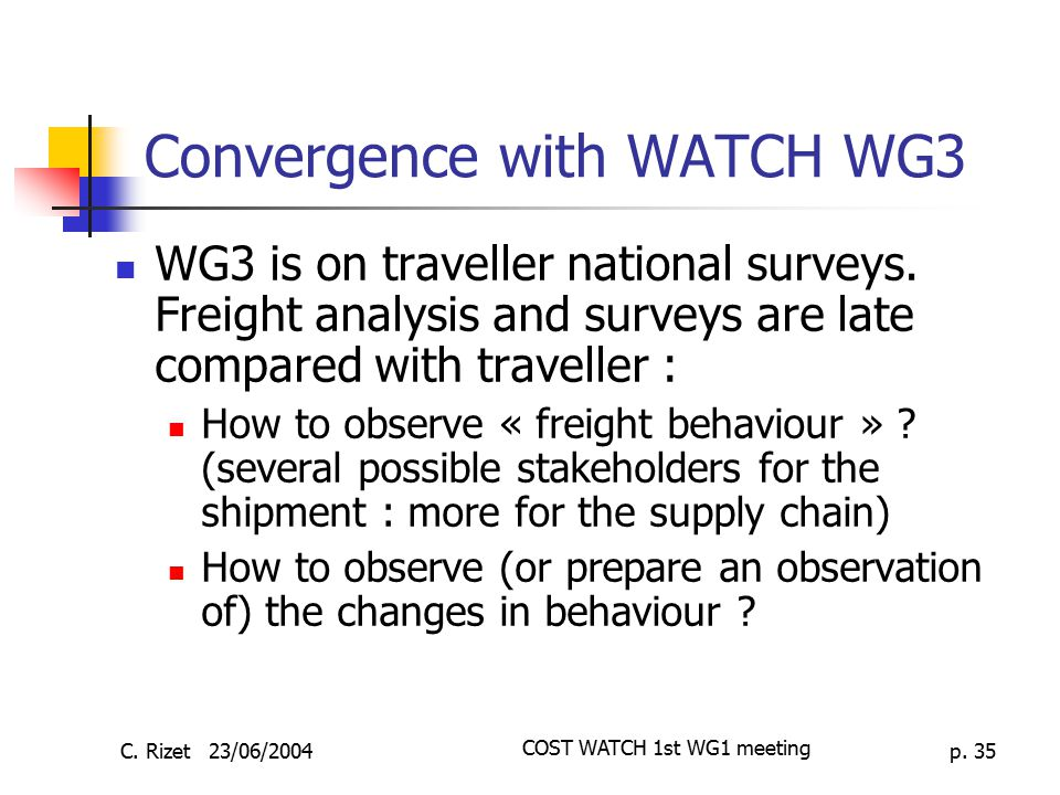 Convergence with WATCH WG3