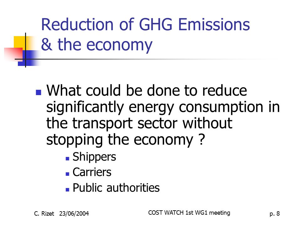 Reduction of GHG Emissions & the economy