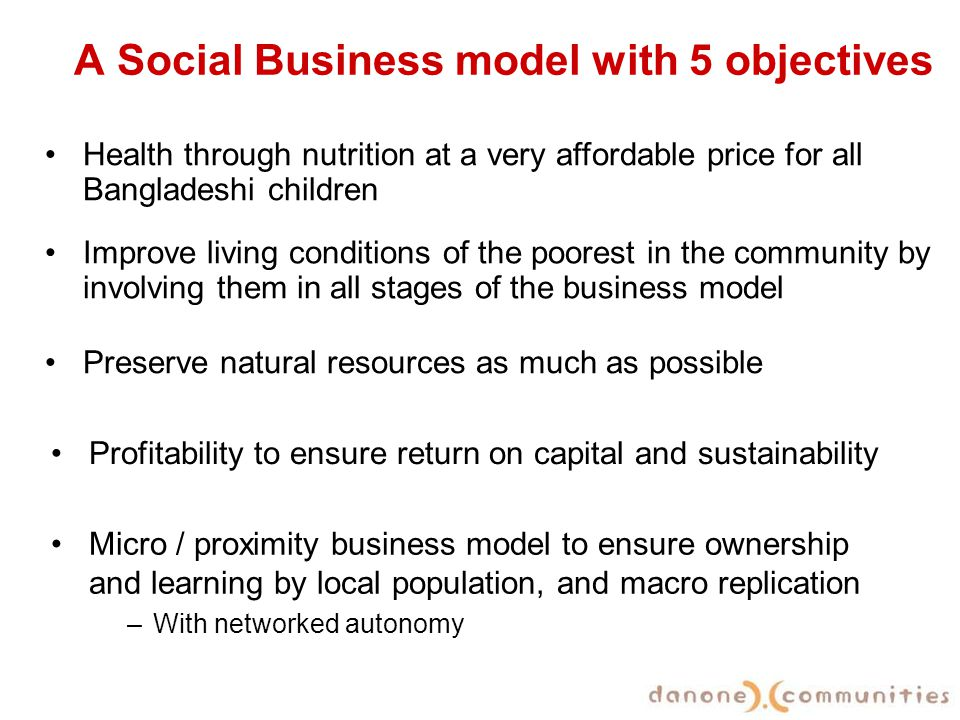 A Social Business model with 5 objectives