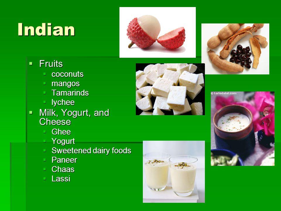 Indian Fruits Milk, Yogurt, and Cheese coconuts mangos Tamarinds