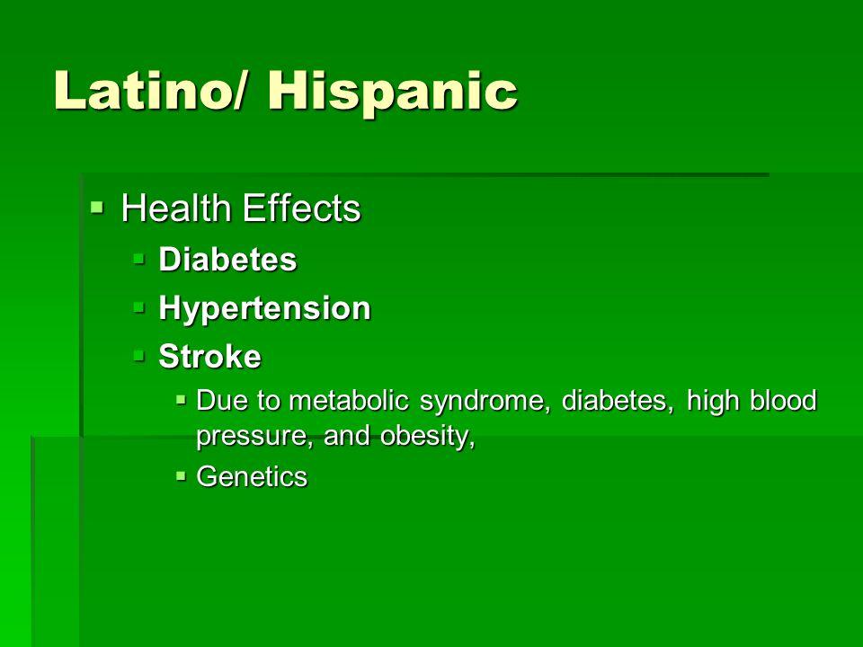 Latino/ Hispanic Health Effects Diabetes Hypertension Stroke