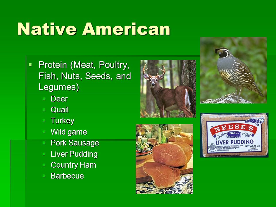 Native American Protein (Meat, Poultry, Fish, Nuts, Seeds, and Legumes) Deer. Quail. Turkey. Wild game.