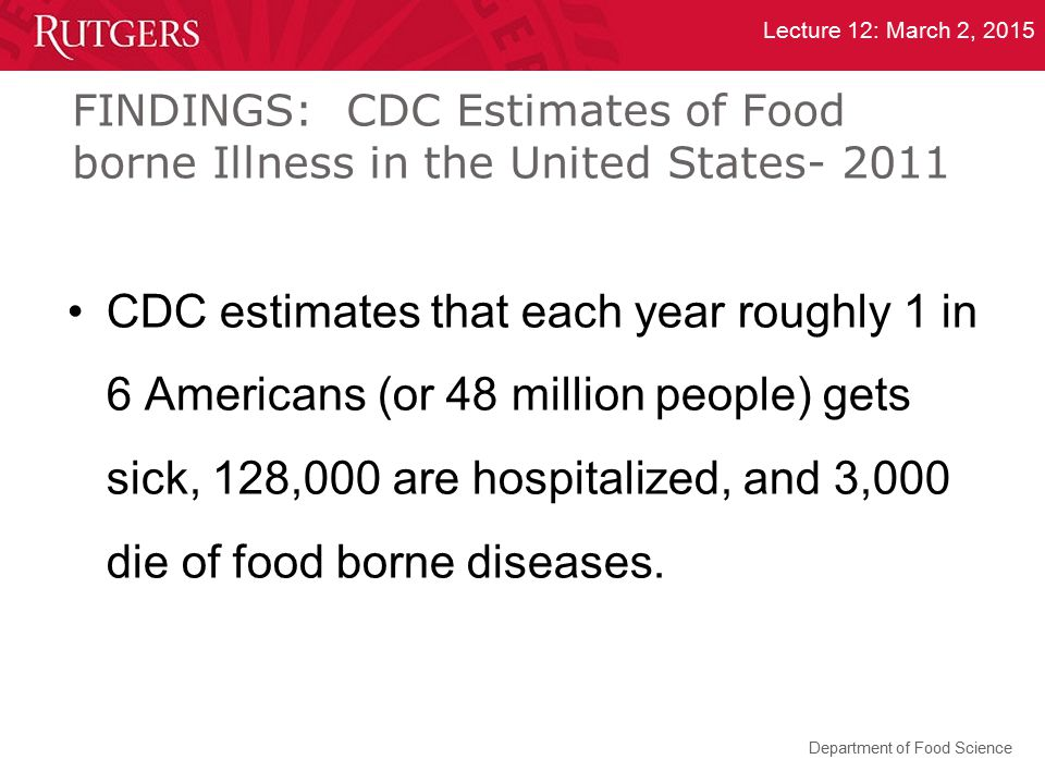 FINDINGS: CDC Estimates of Food borne Illness in the United States- 2011